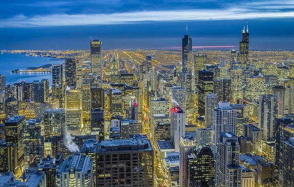 Картинка небо, свет, ночь, город, синева, вид, здания, высота, дома, небоскребы, освещение, Чикаго, панорама, USA, США, ...