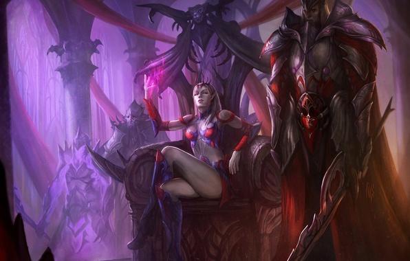 Картинка девушка, магия, меч, защита, корона, арт, страж, трон, королева, доспех