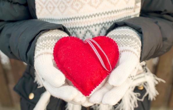 Картинка зима, любовь, сердце, love, heart, winter, варежки, romantic, sweet, hands