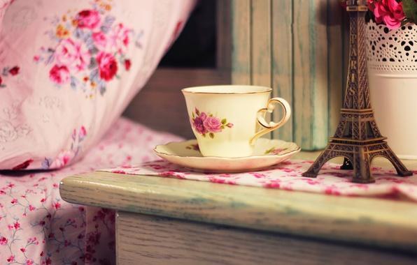 Картинка цветы, дом, чай, Франция, кофе, букет, чашка, Эйфелева башня, пить, France, flowers, cup, home, drink, …