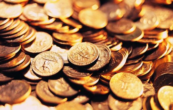 Картинка макро, деньги, монеты, куча