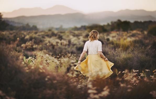 Картинка поле, трава, девушка, спина, юбка, блузка