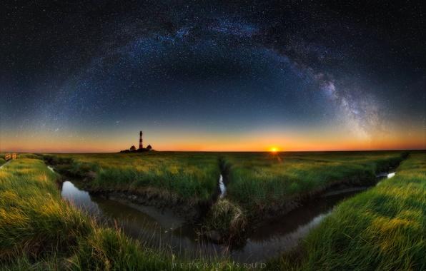 Картинка небо, звезды, ночь, маяк, вечер, млечный путь