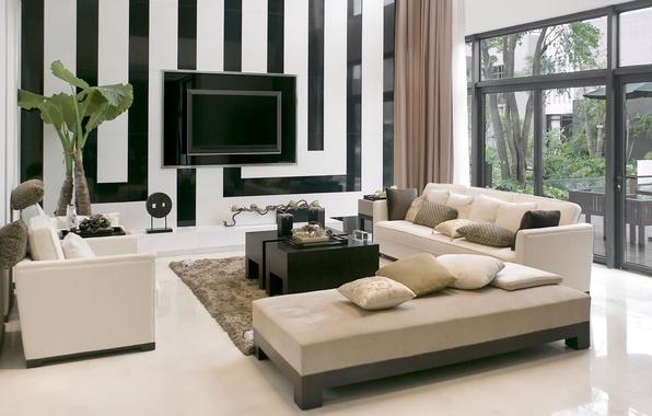 Картинка стиль, полосы, комната, диван, растение, телевизор, окно