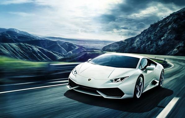 Картинка Lamborghini, Front, Mountain, White, Road, Supercar, Huracan, LP640-4