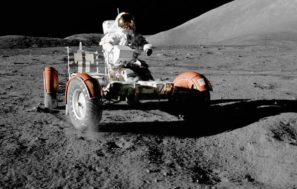 Картинка космос, обои, луна, космонавт, nasa, лунный автомобиль