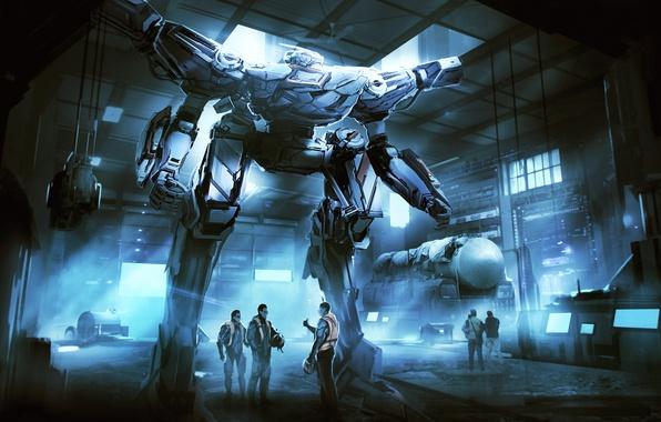Картинка оружие, люди, фантастика, робот, арт, ангар, пилот