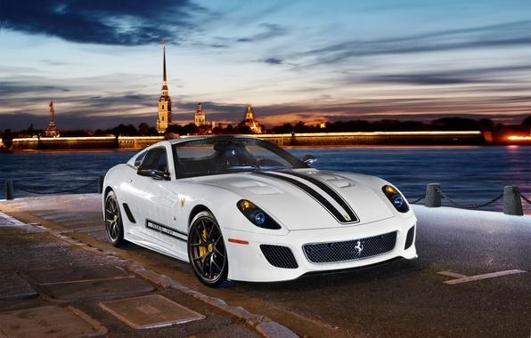 Картинка огни, река, вечер, суперкар, набережная, Ferrari 599 GTO, спортивный автомобиль, 2-местный
