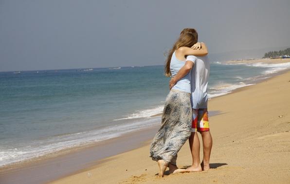 Картинка море, девушка, любовь, фон, обои, настроения, пара, парень, прогулка