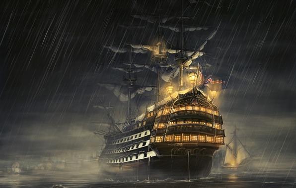 Картинка море, ночь, дождь, корабль, парусник, rain, фрегат