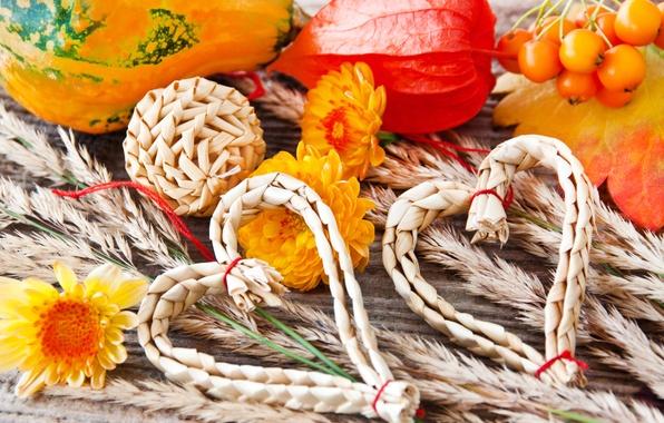 Картинка осень, листья, украшения, цветы, сердца, колоски, сердечки, тыква, солома, колосья, овощи, хризантемы