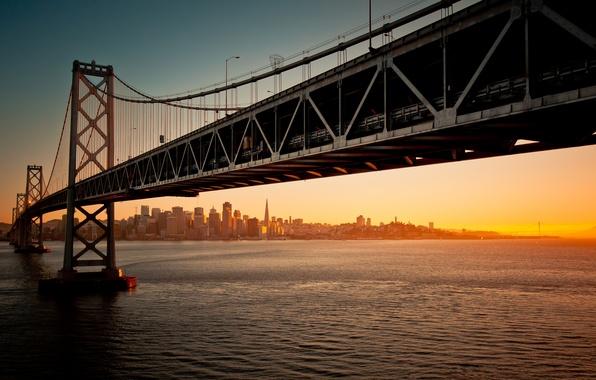 Картинка вода, закат, мост, вечер, california, калифорния, san francisco, сан-франциско