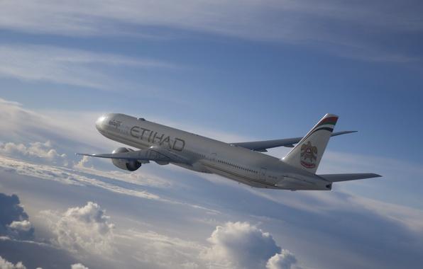 Картинка Небо, Облака, Лайнер, Полет, Самолёт, Пассажирский, Airbus, Реактивный, A330, Etihad, Airways, Широкофюзеляжный, Аэробус
