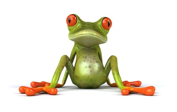 Картинка поза, графика, лягушка, сидит, Free frog 3d
