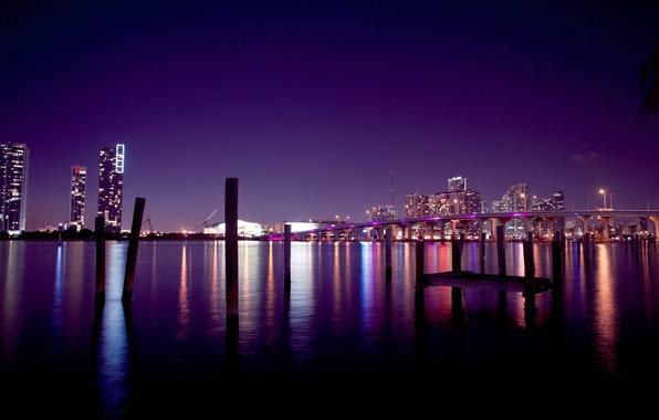 Картинка небо, ночь, мост, город, здания, дома, америка, сша, майами, miami