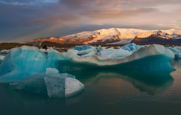 Картинка снег, горы, залив, Исландия, айсберги