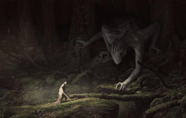 Фото обои плащ, арт, деревья, Fantasy, мох, человек, меч, ветки, лес, существо