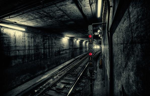 Картинка свет, город, метро, поезд, тоннель, подземка