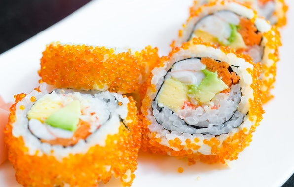Картинка икра, rolls, sushi, суши, роллы, начинка, японская кухня, Japanese cuisine, stuffing, caviar