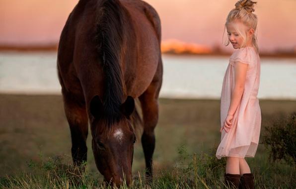 Картинка закат, природа, лошадь, платье, девочка