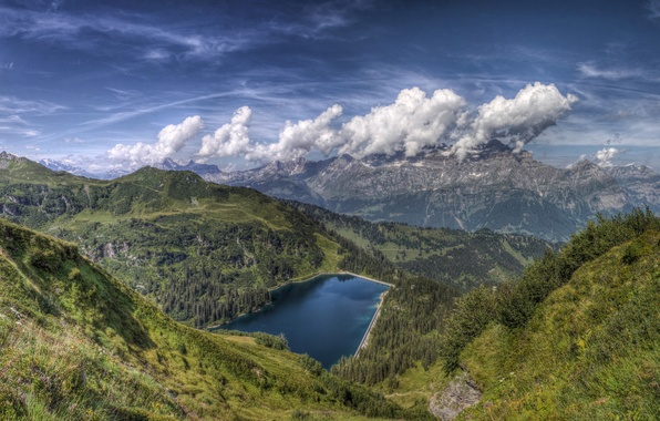 Картинка небо, облака, горы, природа, озеро, фон, widescreen, обои, вид, красота, wallpaper, sky, nature, широкоформатные, background, …