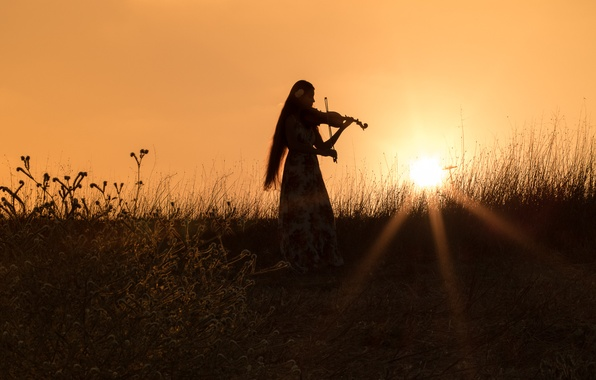Картинка поле, трава, девушка, закат, настроение, скрипка, вечер, платье, силуэт, лучи солнца