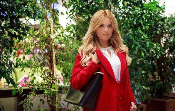 Картинка девушка, лицо, стиль, фон, волосы, сумка, красотка, пальто