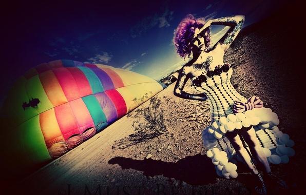 Картинка девушка, стиль, фото, работа, фотошоп, шар, воздушный