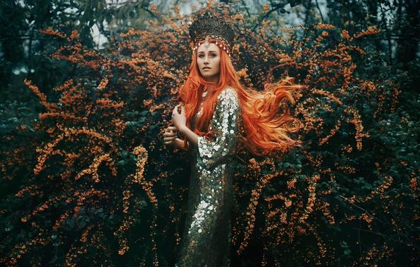 Картинка девушка, украшения, цветение, рыжеволосая, Bella Kotak, The Tempest