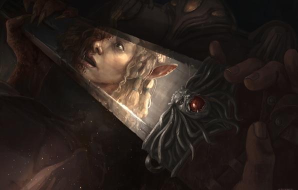 Картинка взгляд, лицо, отражение, испуг, эльф, фэнтези, арт, fantasy