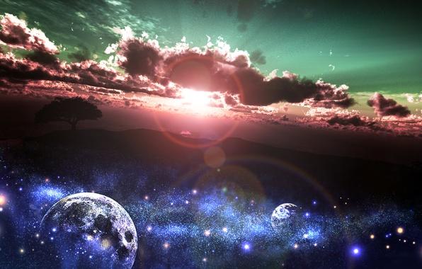 Картинка небо, солнце, звезды, облака, закат, природа, дерево, земля, планеты, арт, y-k