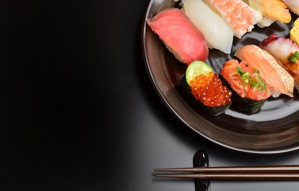 Картинка еда, рыба, черный фон, икра, суши, морепродукты, ассорти, филе