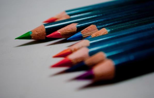 Картинка макро, цветные, цвет, карандаши, рисование