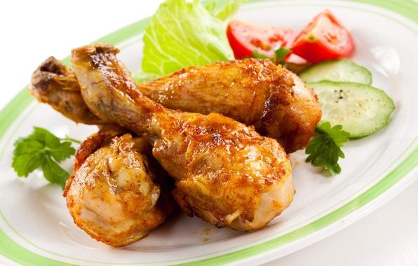 Картинка курица, огурец, мясо, помидоры, салат, куриные ножки