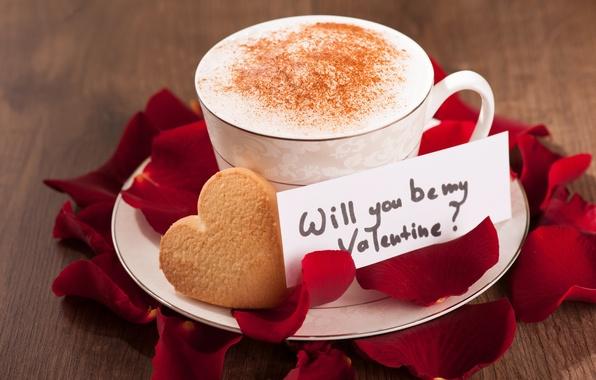 Картинка любовь, кофе, розы, лепестки, чашка, сердечки, love, heart, romantic, Valentine's Day