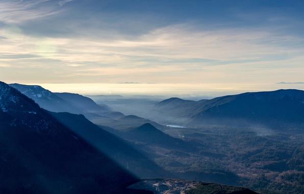Фото обои лес, долина, панорама, рассвет, горы, озеро