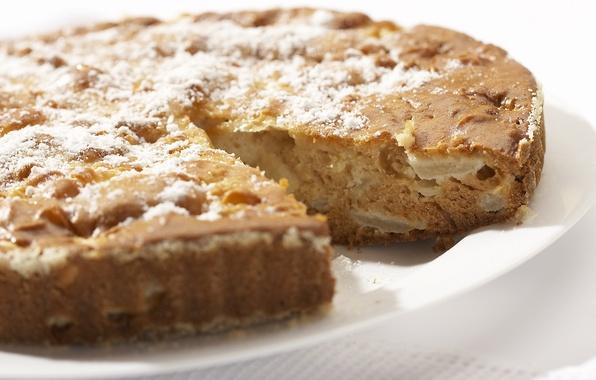 Картинка пирог, выпечка, сладкое, вкусно, сахарная пудра, шарлотка