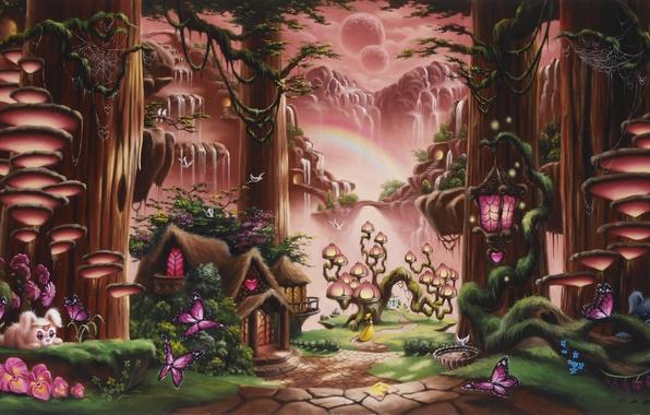 Картинка лес, девушка, деревья, бабочки, закат, цветы, горы, грибы, водопад, сказка, радуга, фэнтези, арт, дорожка, фонарь, …