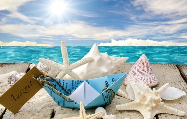 Картинка море, пляж, солнце, звезды, ракушки, sunshine, beach, sea, seashells, starfishes