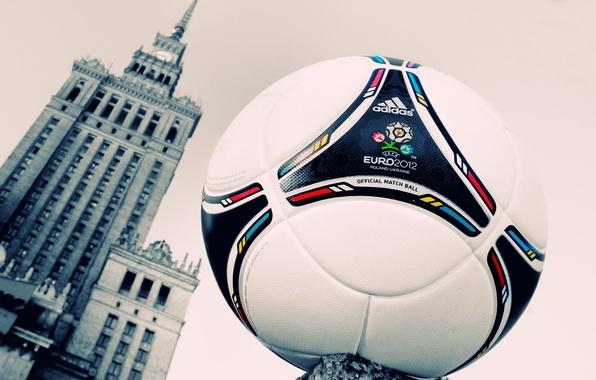 Картинка знак, футбол, мяч, здание, часы, окна, башня, логотип, кожа, Варшава, евро, эмблема, 2012, adidas, фирма, …