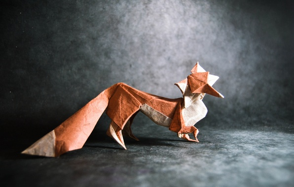 Картинка серый, лиса, хвост, fox, оригами, tail, origami, gray