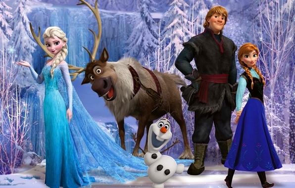 Картинка снег, снежинки, лёд, олень, снеговик, Frozen, принцесса, Анна, Королева, Anna, анимация, Уолт Дисней, Elsa, Эльза, …