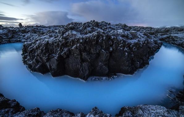 Картинка вода, природа, камни, скалы, лагуна, Исландия