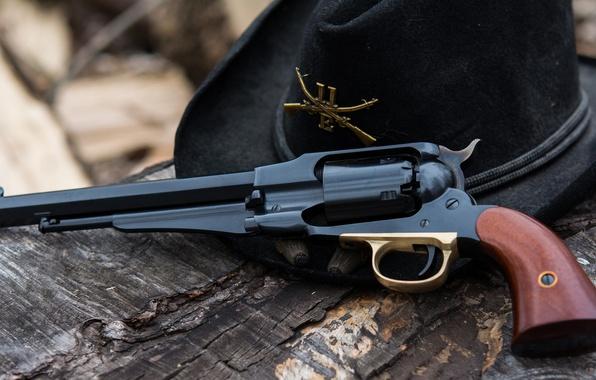 Картинка оружие, шляпа, револьвер, Colt, Uberti replica, 1858