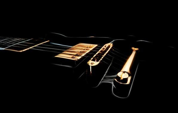 Картинка фон, чёрный, гитара, струны, гриф, звукосниматель, дека, очертания