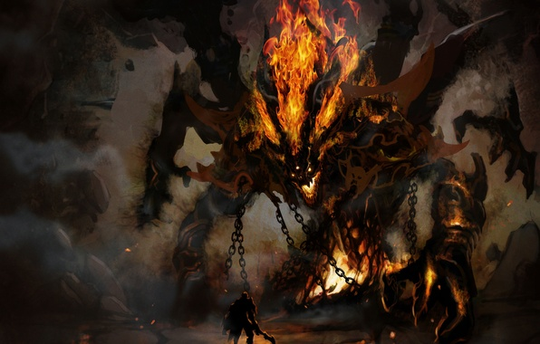 Картинка огонь, демон, воин, рога, пещера, цепи