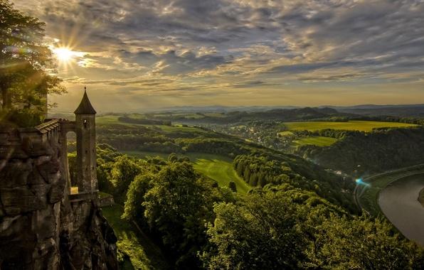 Картинка закат, река, поля, Германия, панорама, Germany, Саксония, Saxony, Königstein, Кёнигштайн, Königstein Fortress, Elbe River, река …
