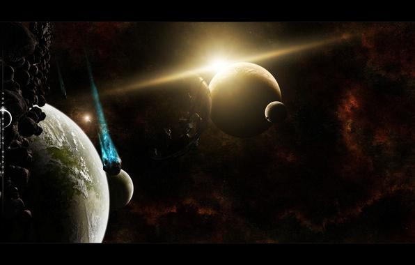 Картинка звезды, астероиды, universe, бесконечность, planets, deep space