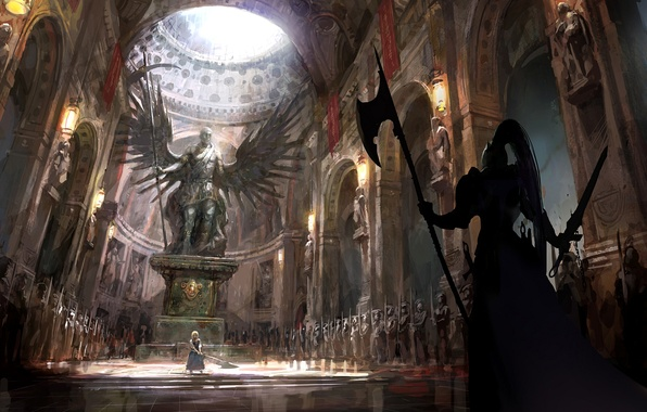 Картинка девушка, оружие, крылья, войны, арт, храм, статуя, saber, fate stay night