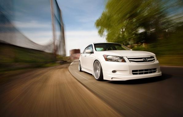 Картинка движение, скорость, белая, перед, honda, хонда, accord, Tuning, аккорд, Vossen
